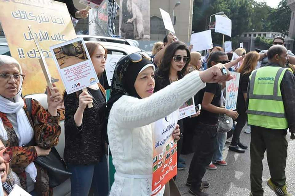 Animal rescuer, Hoda Mklad protesting in the street of Egypt for animals.